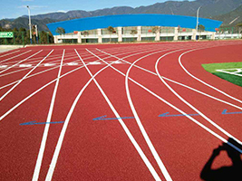 Rubber running track